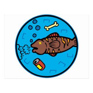 Pollution fish postcard