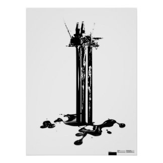 Pollution   Offshore oil rig Poster