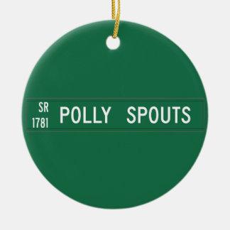 Polly echa en chorro el camino, placa de calle, adorno redondo de cerámica