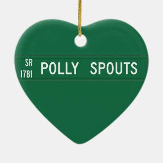Polly echa en chorro el camino, placa de calle, adorno de cerámica en forma de corazón