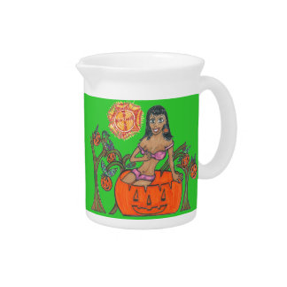 Polly Pumpkin Pop Up Patch Halloween Girl Beverage Pitchers