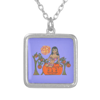 Polly Pumpkin Pop Up Patch Halloween Girl Silver Plated Necklace