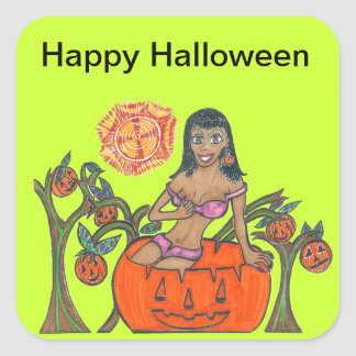 Polly Pumpkin Pop Up Patch Halloween Girl Square Sticker