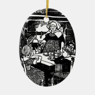 Polly puso la caldera en poesía infantil adorno navideño ovalado de cerámica