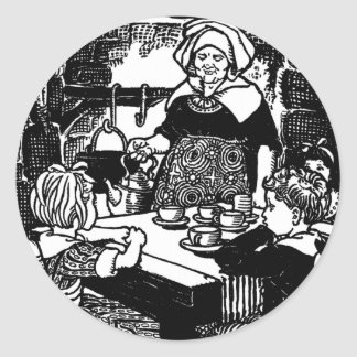 Polly Put the Kettle on Nursery Rhyme Classic Round Sticker
