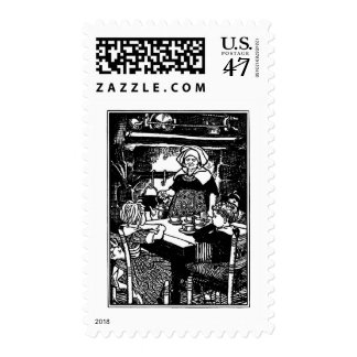 Polly Put the Kettle on Nursery Rhyme Postage Stamp