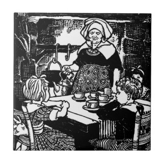 Polly Put the Kettle on Nursery Rhyme Small Square Tile