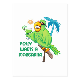 POLLY WANTS A MARGARITA POSTCARD