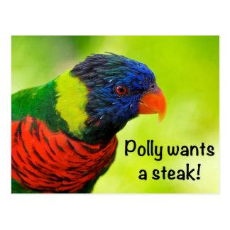 Polly wants a steak! postcard