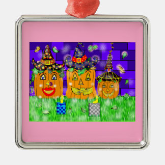 Polly Winkle Pumpkin Family Metal Ornament