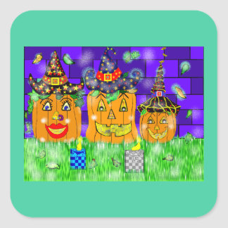 Polly Winkle Pumpkin Family Square Sticker