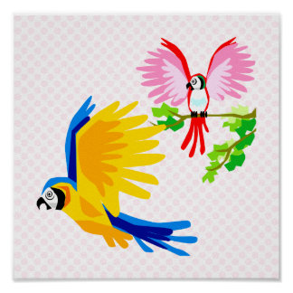 Polo and Poli Parrot Poster