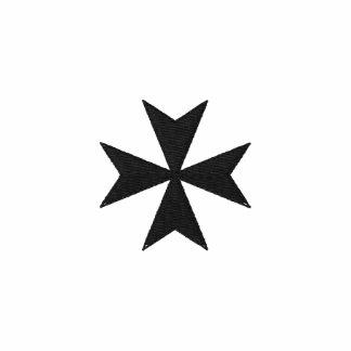 Polo bordado negro de la cruz maltesa