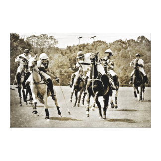 Polo Horses Galloping Stretched Canvas Print