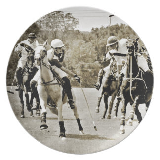Polo Horses Galloping Dinner Plate