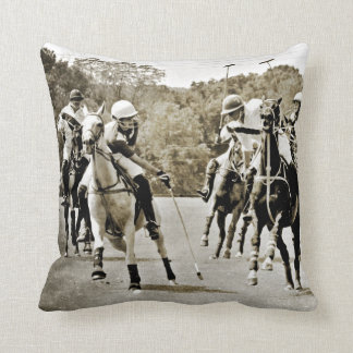 Polo Horses Galloping Throw Pillow