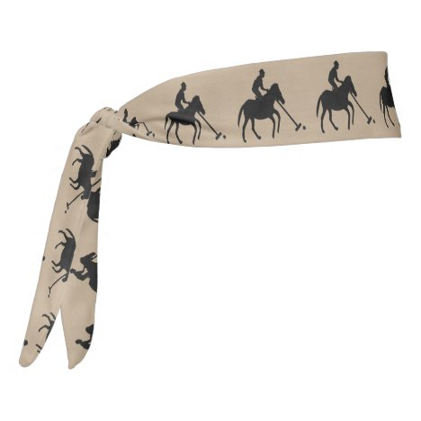 Polo Player in Silhouette Patterned Tie Headband