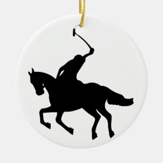 Polo player on horseback. ceramic ornament