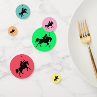 Polo Player on Horseback Rainbow Table Confetti