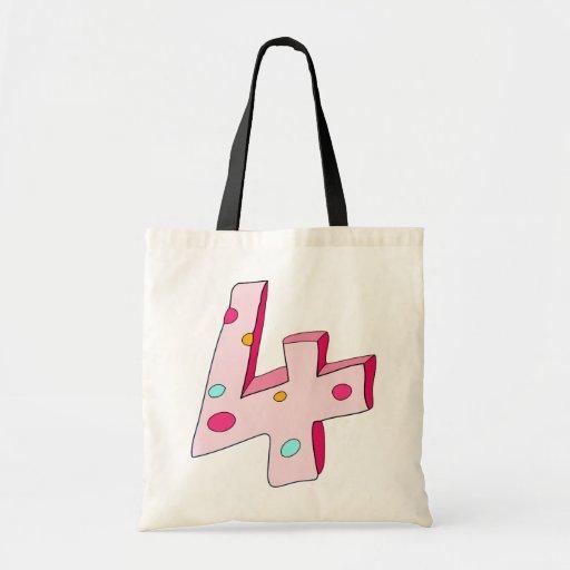 Polo rosado bolso de 4 cumpleaños bolsa de mano
