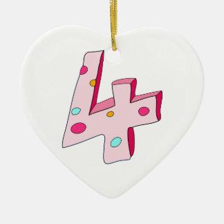 Polo rosado ornamento de 4 cumpleaños (corazón) ornamento para reyes magos