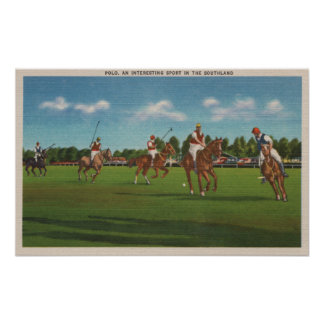 Polo Scene with Players and Horses on Lawn Poster