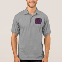 Polo Shirt - Crazy Fractal Purple terquoise yellow