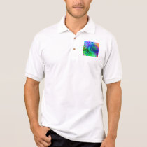 Polo Shirt - Psychedelic Fractal blue terquoise