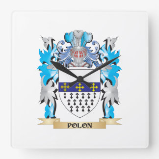 Polon Coat of Arms - Family Crest Square Wall Clocks