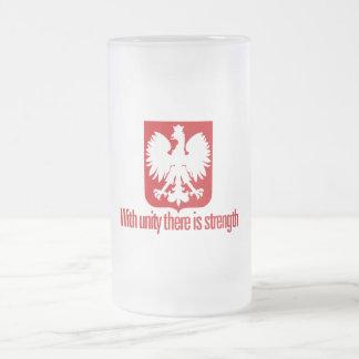 Polonia-Con fuerza de la unidad Taza Cristal Mate
