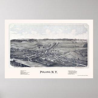 Polonia, mapa panorámico de NY - 1890 Póster