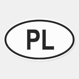 Polonia PL Calcomanía Oval Personalizadas