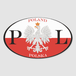 Polonia Polska PL Pegatina Ovalada