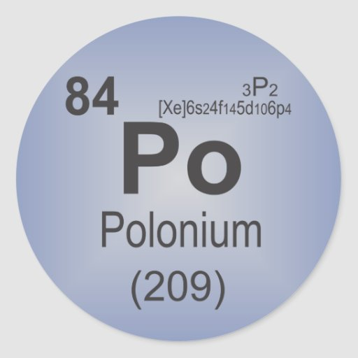 Polonium Individual Element of the Periodic Table Classic Round Sticker
