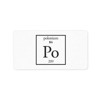 Polonium Personalized Address Label