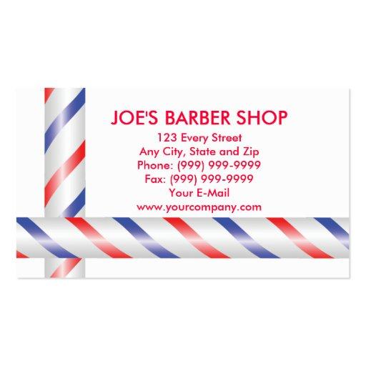 polos azules y blancos rojos del peluquero tarjetas de visita