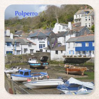 Polperro Cornwall England Low Tide Square Paper Coaster