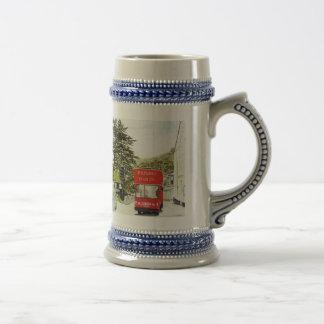 'Polperro Tram' Stein Coffee Mug