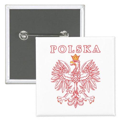 Polska con el polaco Eagle del rojo Pin Cuadrada 5 Cm