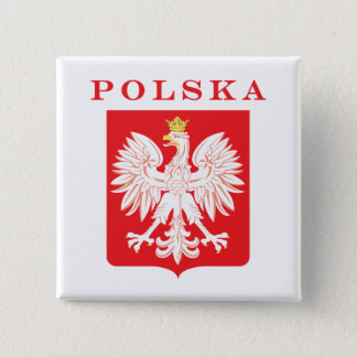 Polska Eagle Red Shield Button
