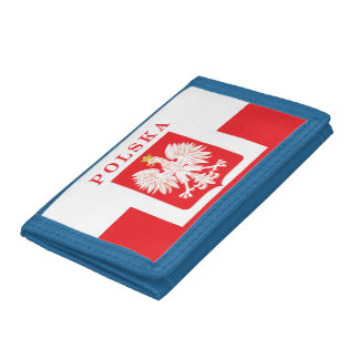 Polska Eagle Red Shield Trifold Wallet