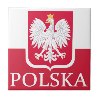 Polska Flag Coat of Arms Tile Coaster