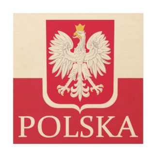 Polska Flag Coat of Arms Wood Wall Art