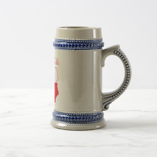 Polska Map With Eagle 18 Oz Beer Stein