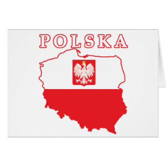Polska Map With Eagle Greeting Cards
