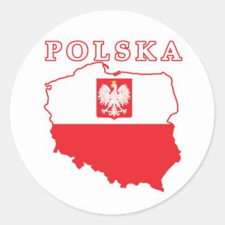 Polska Map With Eagle Classic Round Sticker