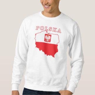 Polska Map With Eagle Pullover Sweatshirt