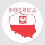 Polska Map With Eagle Round Stickers