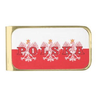 Polska Red Eagles Gold Finish Money Clip