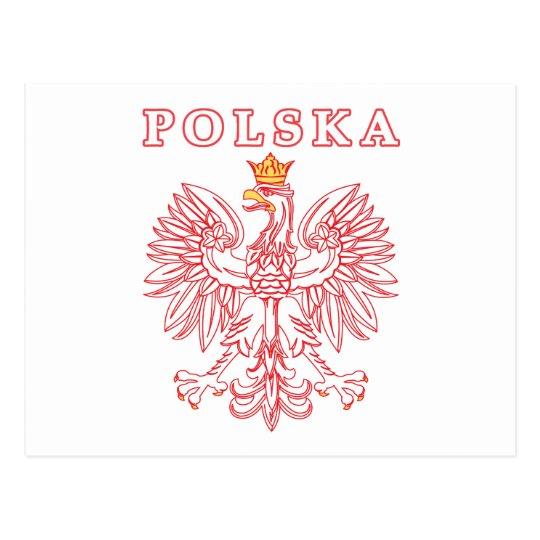 Polska With Red Polish Eagle Postcard